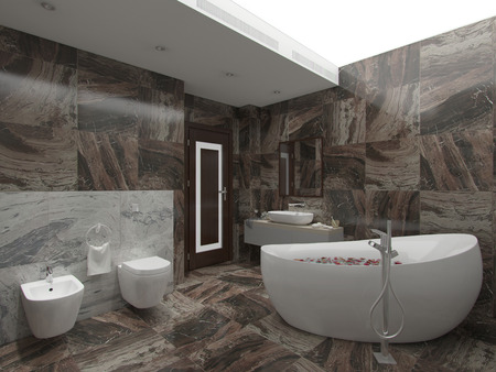 3d illustration brown bathroom Фото со стока