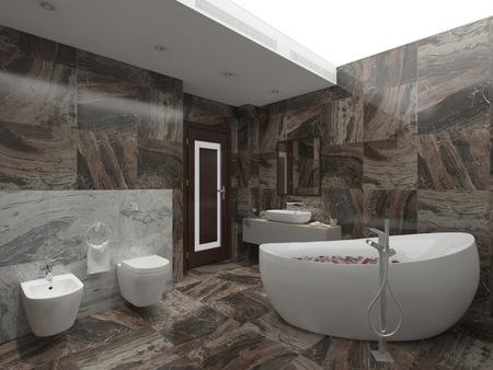 luxuriously: 3d illustration brown bathroom Stock Photo