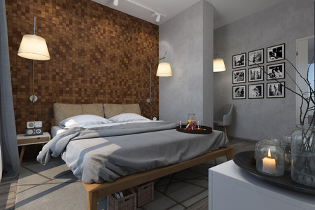 3d illustration of bedrooms in a Scandinavian style