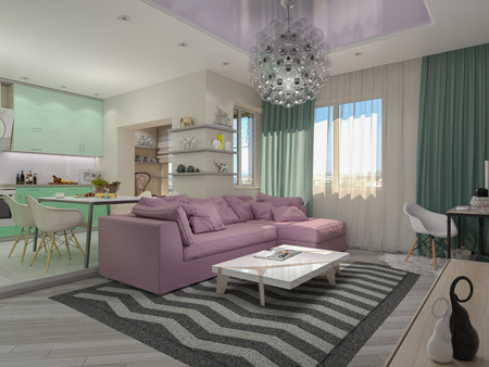 pastel: 3d illustration of small apartments in pastel colors. Green modern kitchen, living room