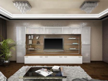 3D render of design of a living room in beige tones