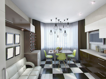 3d rendering of modern kitchen in brown and beige tones