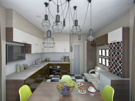living style: 3d rendering of modern kitchen in brown and beige tones