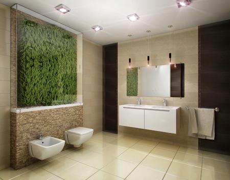 tiled wall: 3D rendering of the bathroom in brown tones