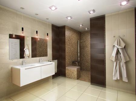 茶色のトーンで浴室の 3 D レンダリング