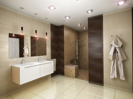 dark interior: 3D rendering of the bathroom in brown tones