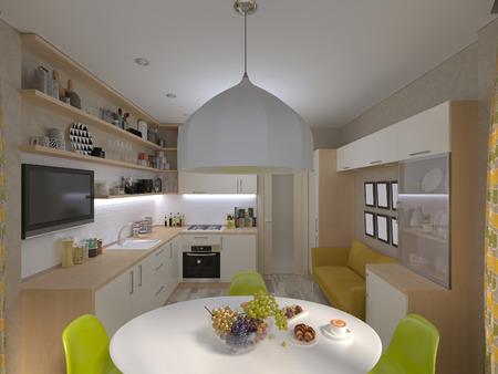 cuisine fond blanc: 3D render de la cuisine blanche