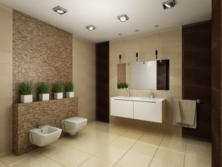 茶色のトーンで浴室の 3 D レンダリングします。 写真素材