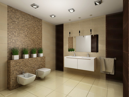 tiled wall: 3D render of the bathroom in brown tones Stock Photo