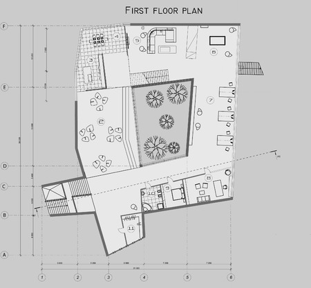 two level house: The drawing of the plan of the first level of the private house