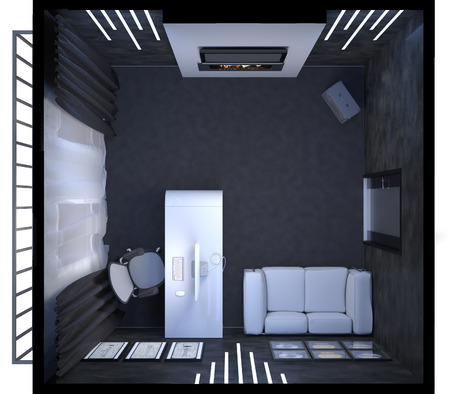 home office interior: 3D render of interior design of a home office