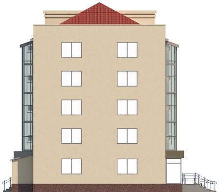 fasade: 3D render fasade of a five-floor house