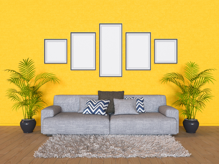 room accents: 3D render a wall with  beige sofa
