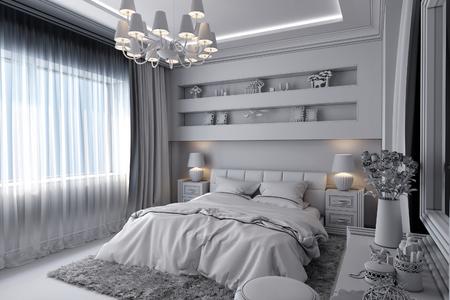 クラシックなスタイルの白い寝室の 3 D レンダリングします。