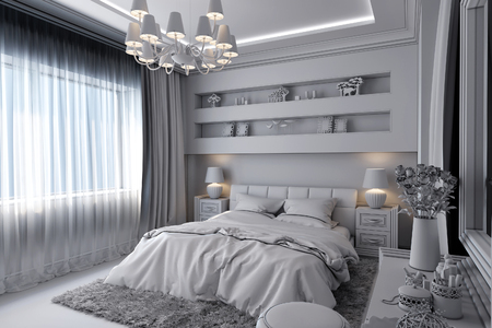 3D render of a white bedroom in classical style