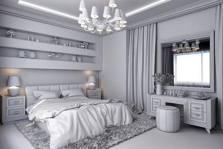 room accents: 3D render of a white bedroom in classical style