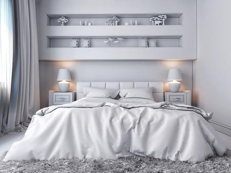 chambre à coucher: 3D rendent d'une chambre blanche dans un style classique Banque d'images