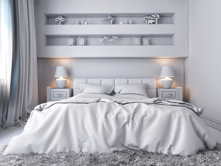 modern bedroom: 3D render of a white bedroom in classical style