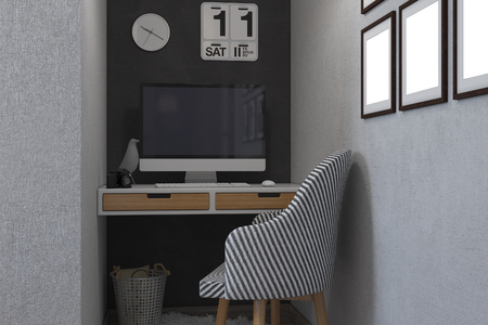 home accent: 3d render of bedrooms in a Scandinavian style