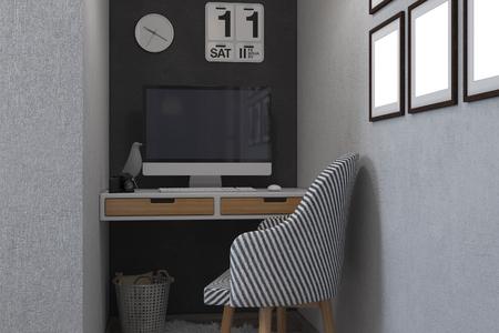 3d render of bedrooms in a Scandinavian style