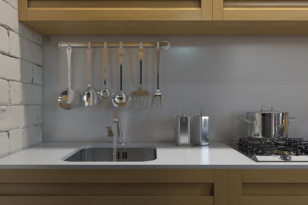home accent: 3D render of kitchen with accessories.