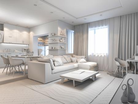 パステル カラーの小さなアパートの 3 d のレンダリング。