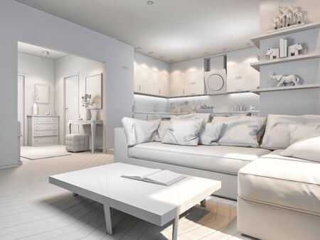 room accents: 3d render of small apartments in pastel colors. Stock Photo