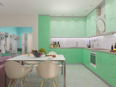 3d render of small apartments in pastel colors. Archivio Fotografico