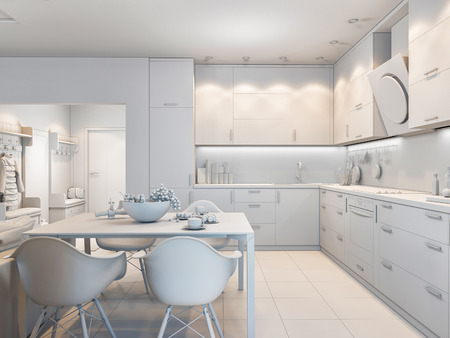 room accent: 3d render of small apartments in pastel colors. Stock Photo