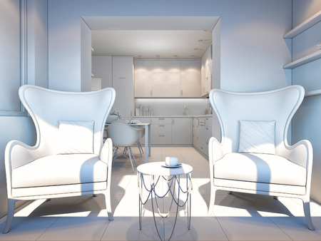 home accent: 3d render of small apartments in pastel colors. Stock Photo