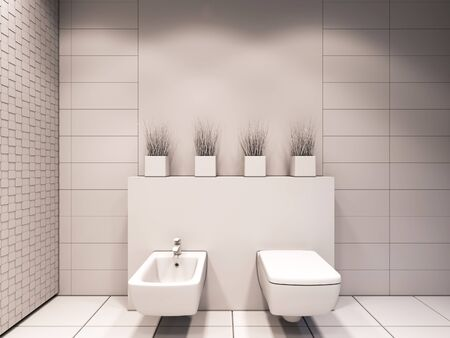 bathroom: 3D render of the bathroom without color and textures