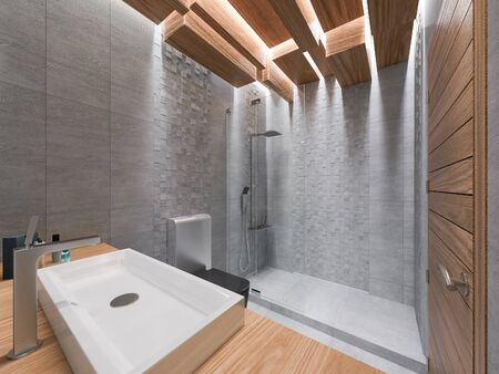 architectural lighting design: 3D render of a bathroom in a gray stone and a mosaic.The ceiling is executed from the wooden blocks which are hanging down at different height with LED illumination.