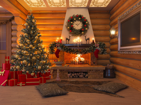 3D rendering New year interior with Christmas tree, presents and fireplace in the house from a log. Postcard decorated christmas tree. Banque d'images