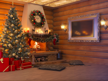 3D rendering New year interior with Christmas tree, presents and fireplace in the house from a log. Postcard decorated christmas tree. Archivio Fotografico