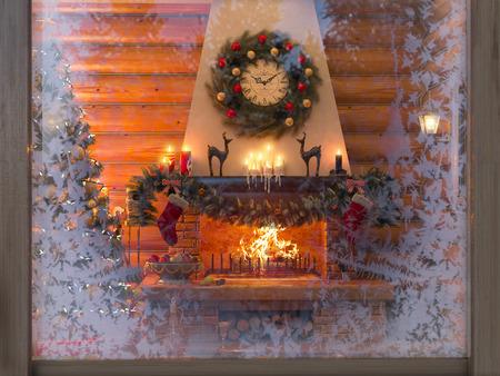 Representación 3D Año nuevo interior con árbol de Navidad, presenta y chimenea en la casa de un registro. Tarjeta postal decorado árbol de Navidad.