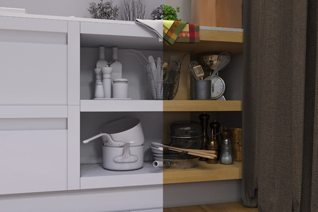 room accent: 3D render of the one-room apartment Stock Photo