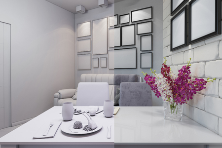 room accents: 3D render of the one-room apartment Stock Photo
