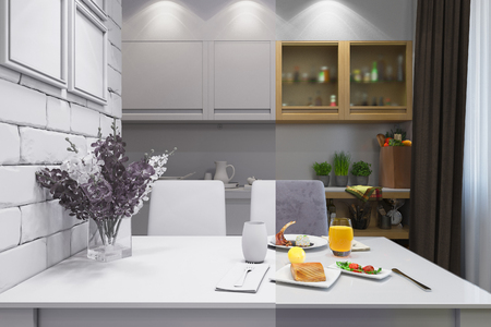 home accent: 3D render of the one-room apartment Stock Photo