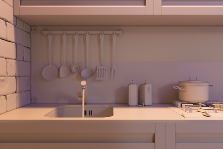 home accent: 3D render of kitchen with accessories. Visualization without shaders and textures