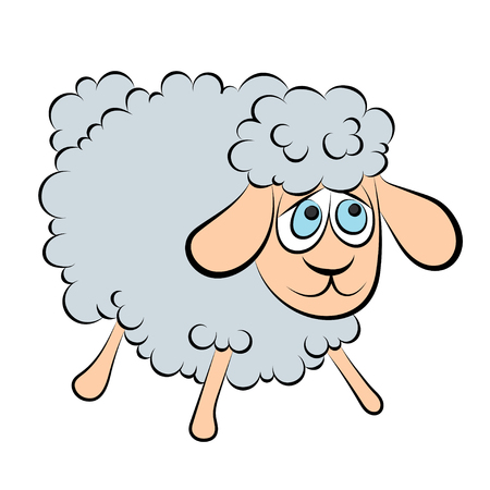 ewe: Illustration of a cheerful lamb with blue eyes