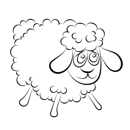 woolly: Illustration of a cheerful lamb with blue eyes