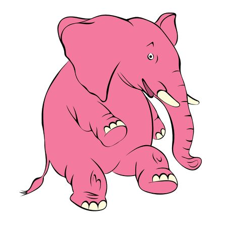 hind: Illustration of a cheerful pink elephant. The elephant costs on a hind leg and smiles