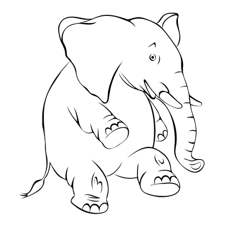 hind: Illustration, contour of a cheerful elephant. The elephant costs on a hind leg and smiles