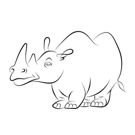 childrens book: illstration of a cheerful rhinoceros for the childrens book