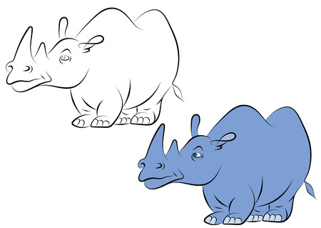 childrens book: illstration of a cheerful blue rhinoceros for the childrens book Illustration