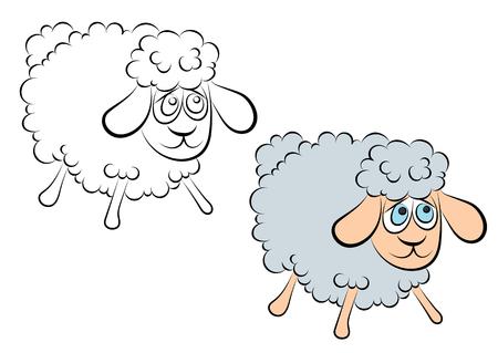 Ilustración De Un Cordero Alegre Con Los Ojos Azules De Libro Para ...