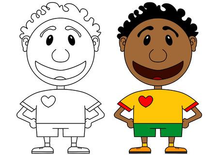 futbol infantil: Illstration del carácter alegre y sonriente del jugador de fútbol africano. colorear para niños