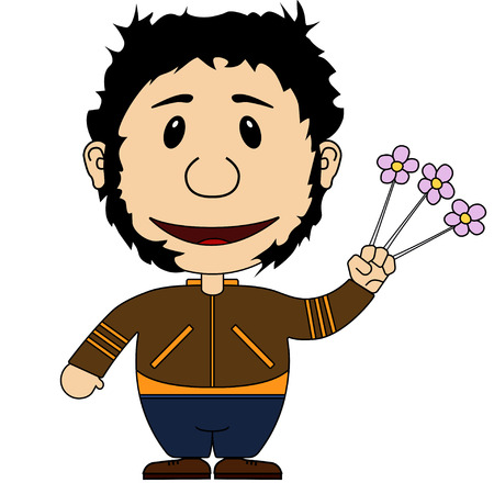 wolverine: Illstration of the cheerful and smiling character with flowers