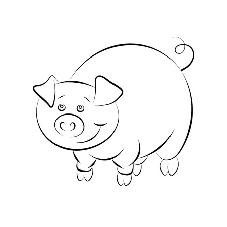 childrens book: Illstration of the cheerful and smiling pig for the childrens book