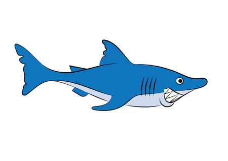childrens book: illustration of a cheerful animation shark for the childrens book